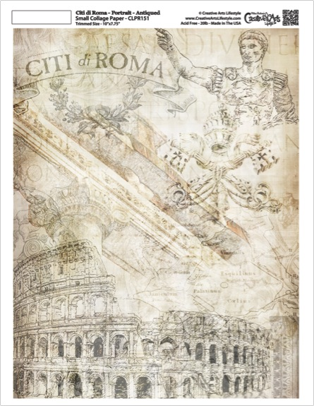 "Citi di Roma Collage Paper - Portrait - Antique - 7.75"" x 10"""
