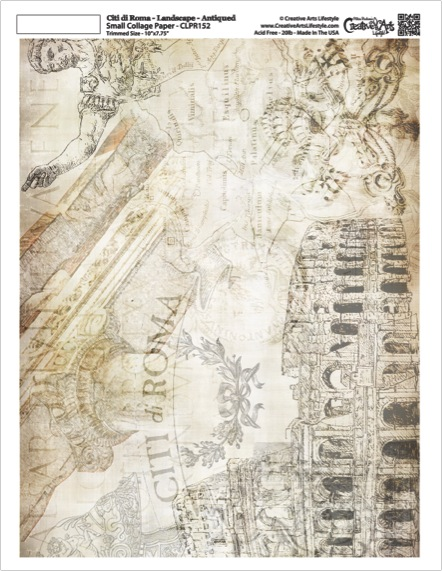 "Citi di Roma Collage Paper - Landscape - Antique - 10"" x 7.75"""