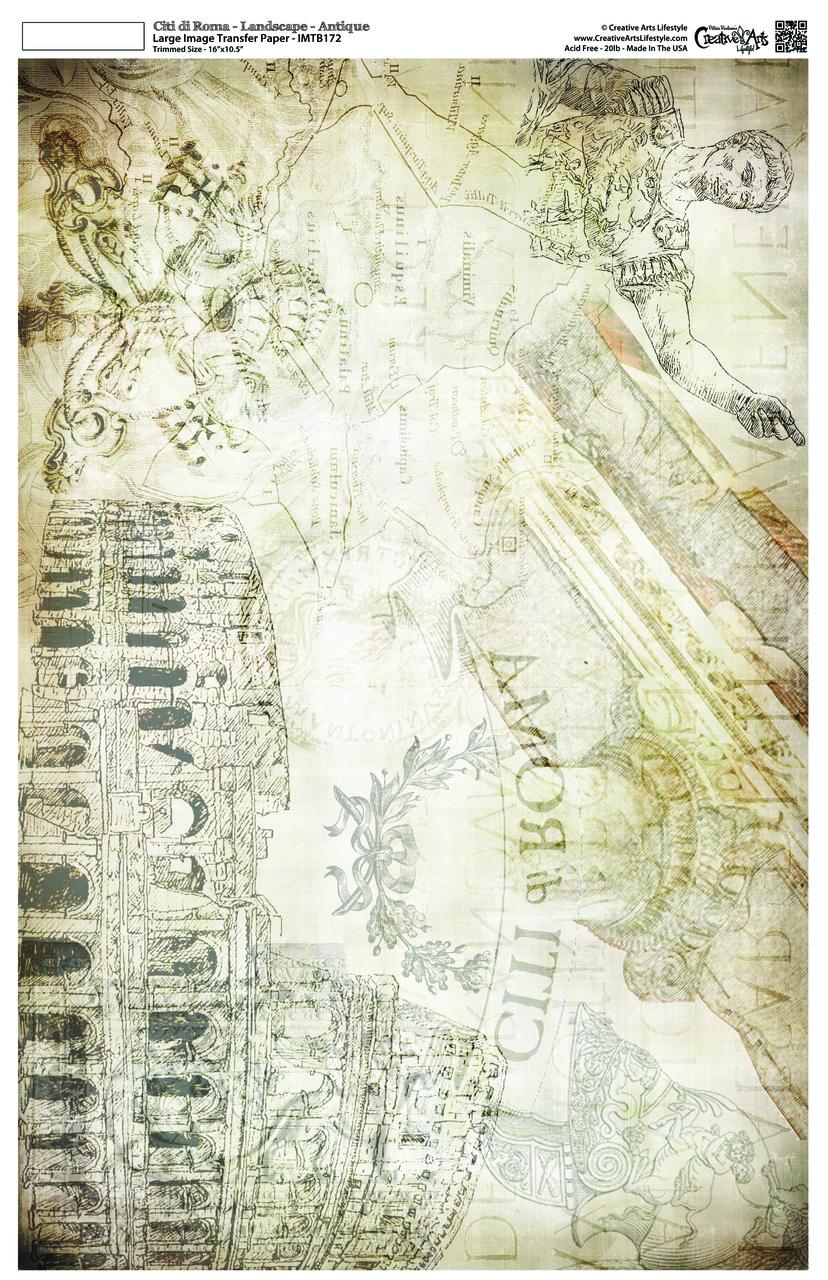 """Citi di Roma Image Transfer Paper -  Landscape - Antique - 16"""" x 10.5"""""""