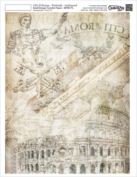 """Citi di Roma Image Transfer Paper -  Landscape - Antique - 10"""" x 7.75"""""""