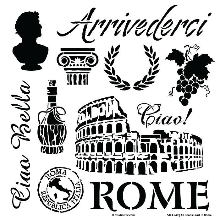 """All Roads Lead to Rome Stencil - 12"""" x 12"""""""