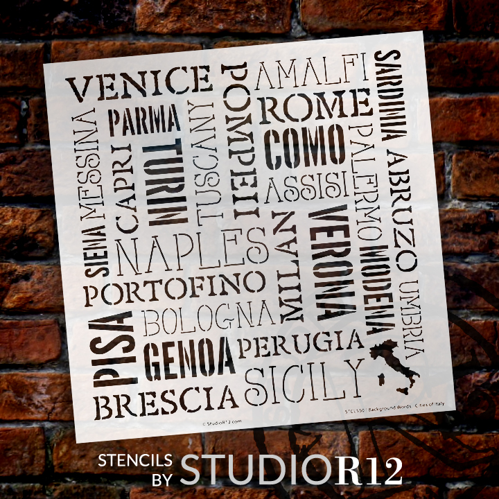 """Background Words - Cities of Italy Stencil -  12"""" x 12"""""""