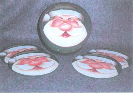 Gleeful Santa Coasters - E-Packet - Bobbie Campbell