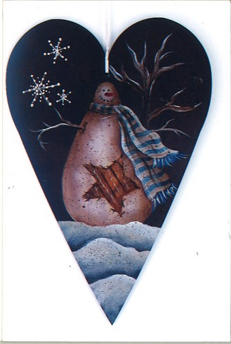 Primitive Snowman Heart - E-Packet - Donna Scully