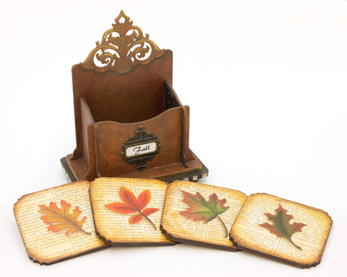 Fall Leaves Vintage Coaster Set - E-Packet - Vera Collier