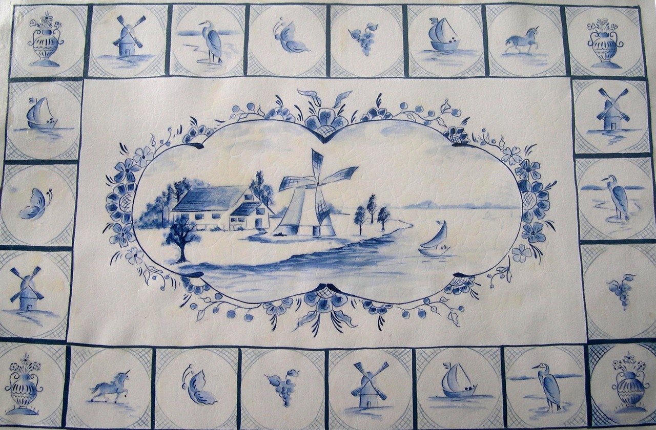 Blue Delft Floorcloth Pattern Packet - Patricia Rawlinson