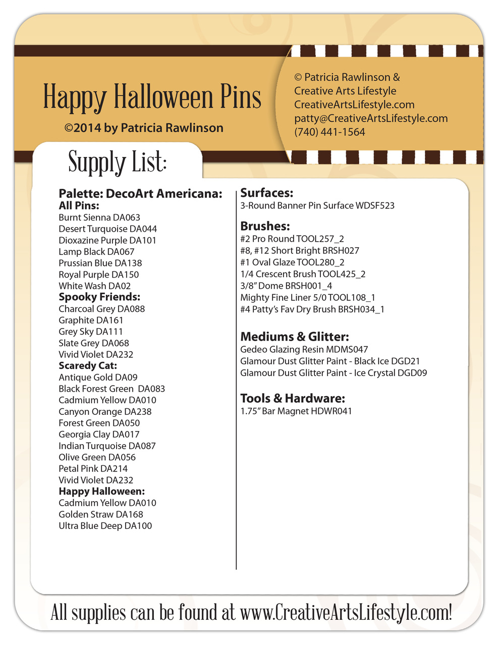 Happy Halloween Pins Pattern Packet