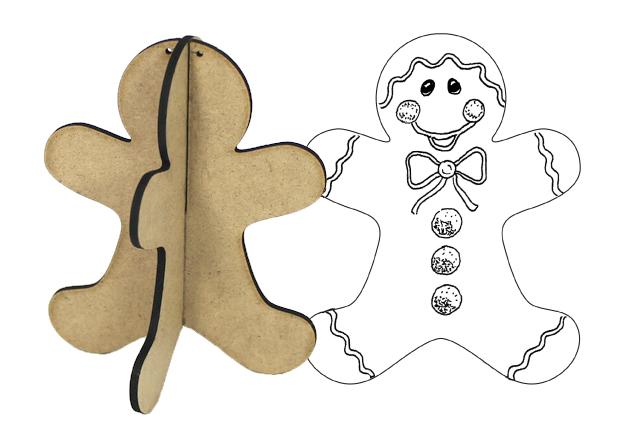3D Wood Ornament - Gingerbread Man