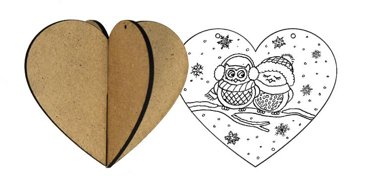 3D Wood Ornament - Heart