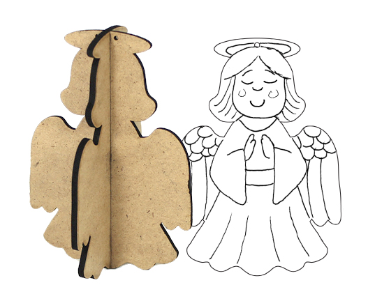 3D Wood Ornament - Angel