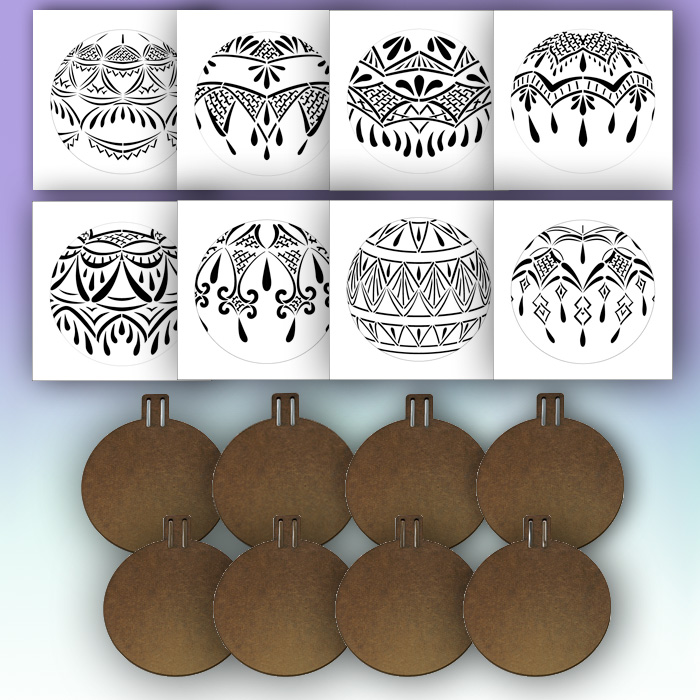 """5"""" Lace Ornament Stencil + 5"""" Ornament Surface Set"""