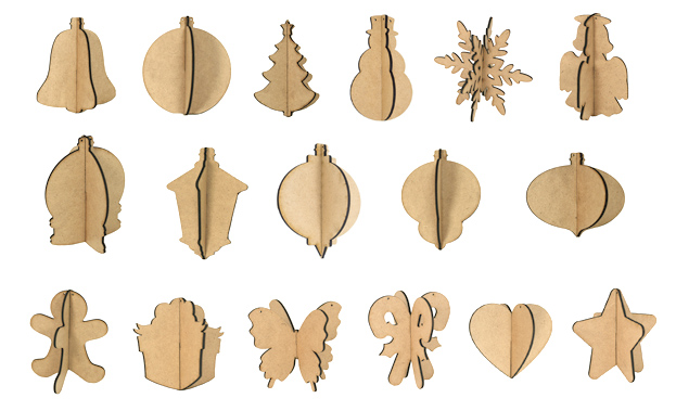 3D Wood Ornament Set