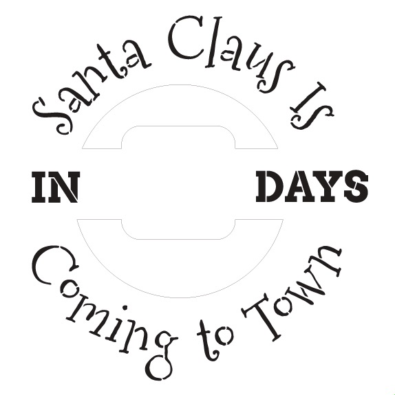 Santa Claus Countdown Wreath Stencil