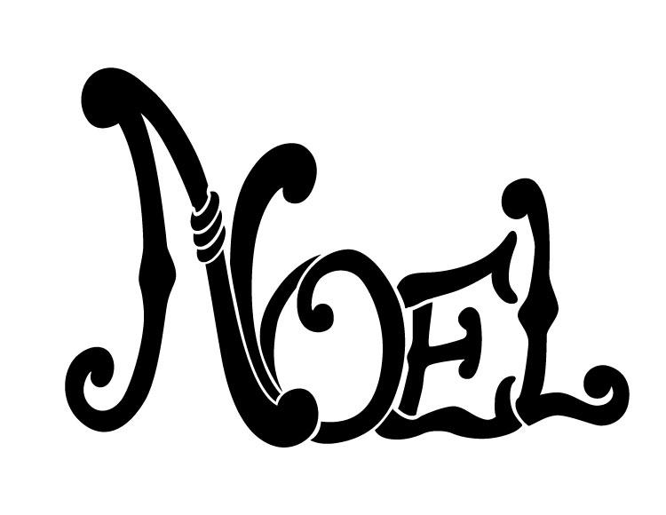 "Word Stencil - Noel - Olde World - 11"" x 8.5"""