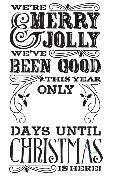 "Merry Christmas Chalk Countdown Stencil - 20""X30"""