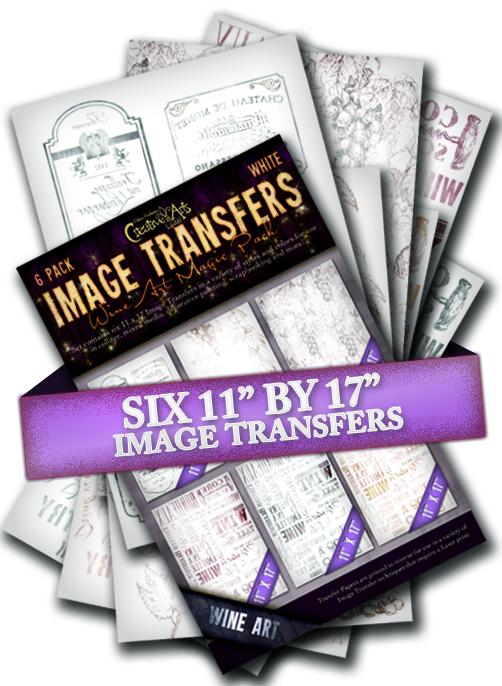 Wine 6 Pack B & W Effect Transfers