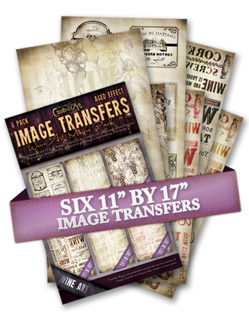 Wine 6 Pack Aged Effect Transfers
