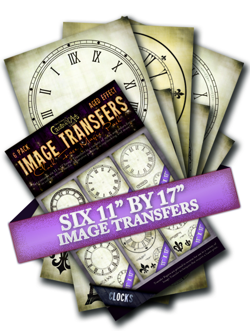 Clock Face 6 Pack Aged Effect Transfers
