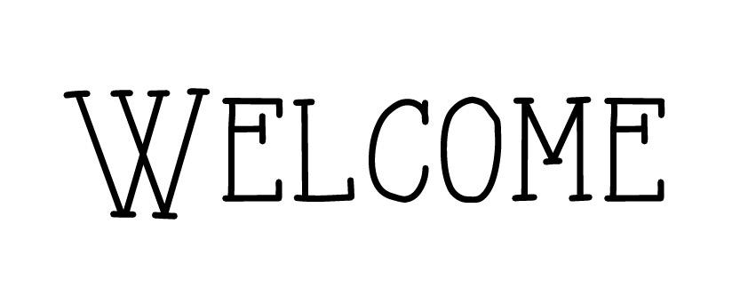 "Word Stencil - Welcome - Skinny Artsy - 8 1/4"" x 2 1/4"" Word Size"