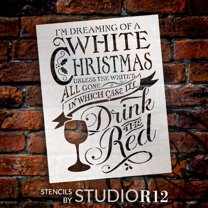 "White Christmas Word Art Stencil - 18"" x 24"" - STCL606_3 - by StudioR12"