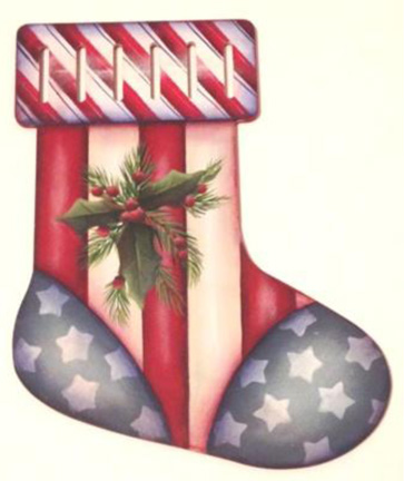 Americana Stocking Ornament - E-Packet - Lonna Lamb