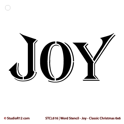 "Word Stencil - Joy - Classic Christmas Card - 6"" x 6"""