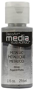 DecoArt Media Fluid Acrylics Metallic SIlver - 1 oz