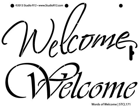 "Words of Welcome Stencil 4""x3"""