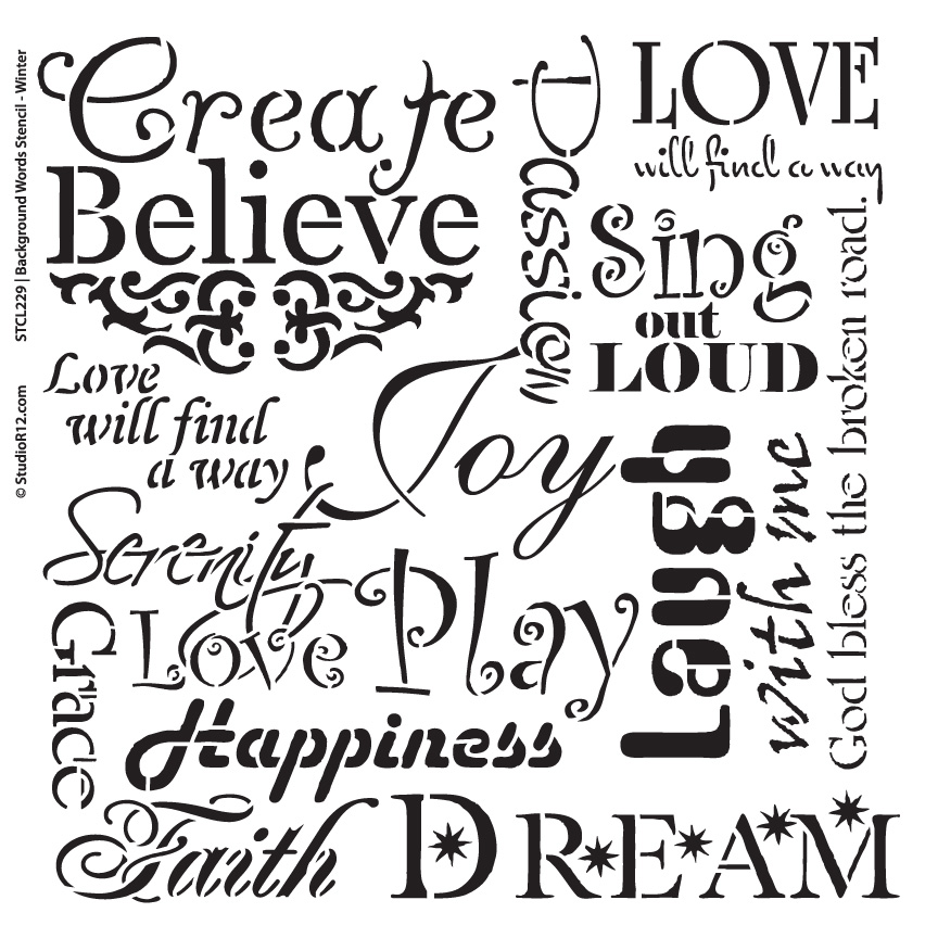 "Background Words Stencil - Faith & Inspiration - 14"" x 14"""