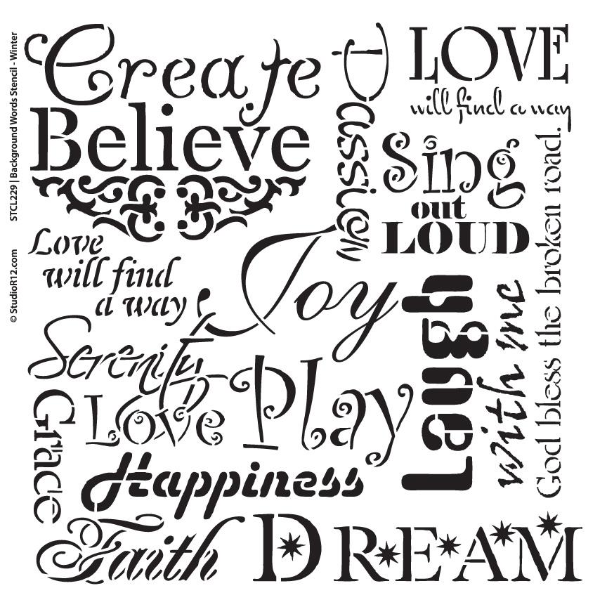 "Background Words Stencil - Faith & Inspiration - 16"" x 16"""