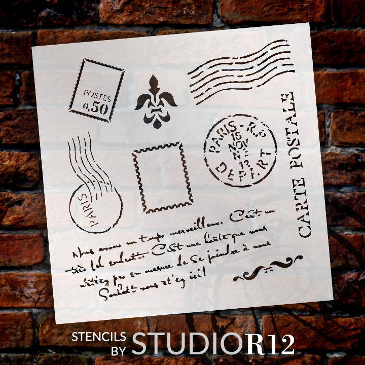 "Paris Postage Stencil -  11"" x 11"" - STCL367_1"