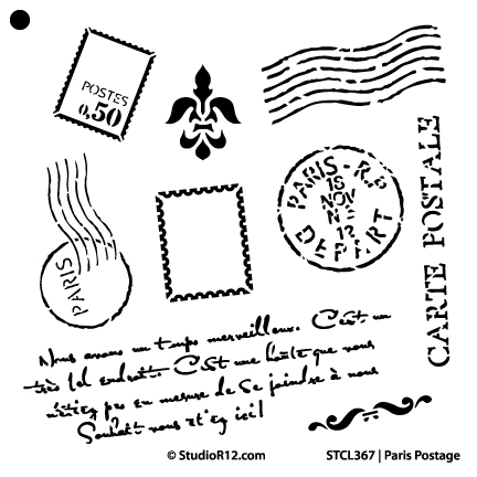 "Paris Postage Stencil -  14"" x 14"" - STCL367_2"