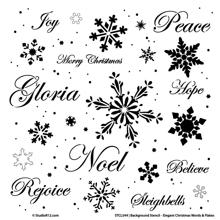 "Background Words Stencil - Elegant Christmas Words & Snowflakes - 14"" x 14"""