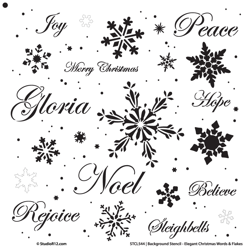 "Background Words Stencil - Elegant Christmas Words & Snowflakes - 20"" x 20"""