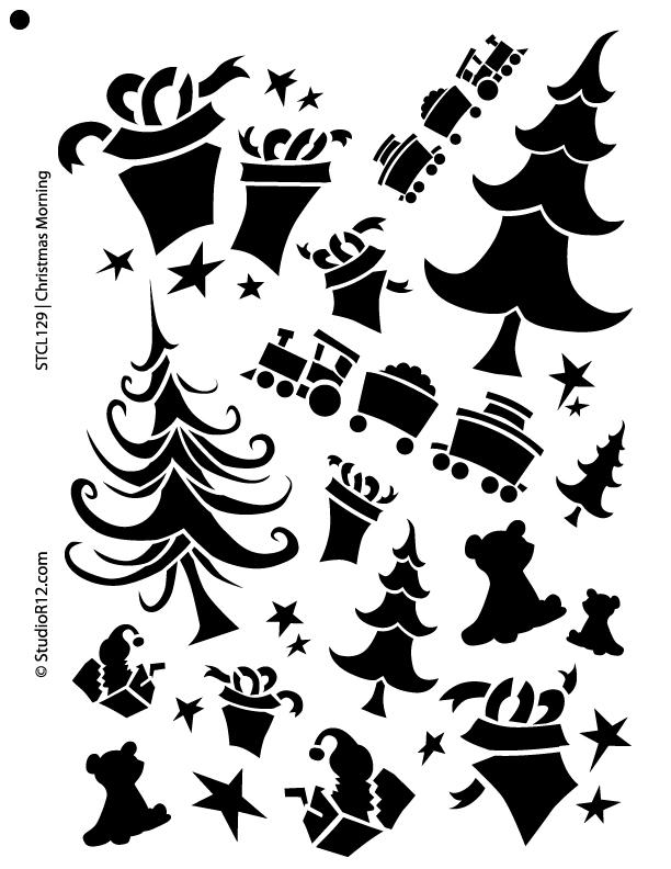 "Christmas Morning Stencil - 11"" x 14"""