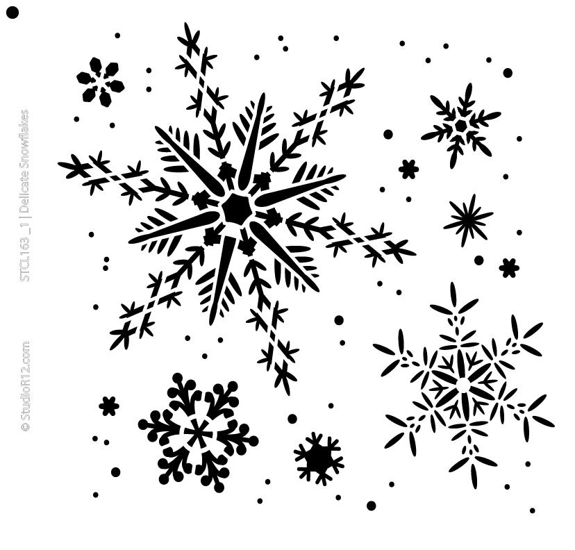 """Delicate Snowflakes Stencil  - 11.5"""" x 11"""""""