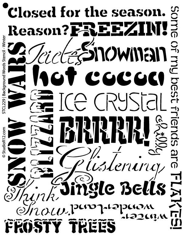 "Background Words Stencil - Winter - 15"" x 19"""
