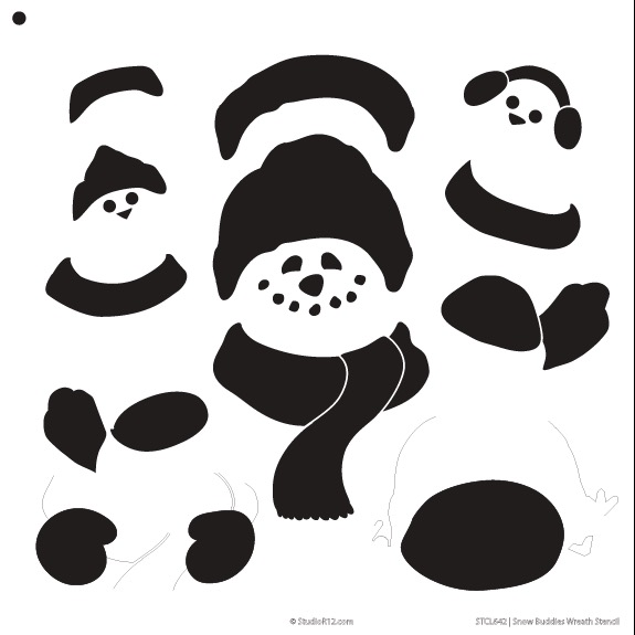 "Snow Buddies Wreath Banner Stencil - 12"" x 12"""