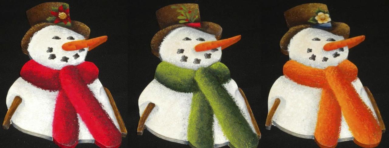 3 Snowmen Ornaments - E-Packet - Ann Perz