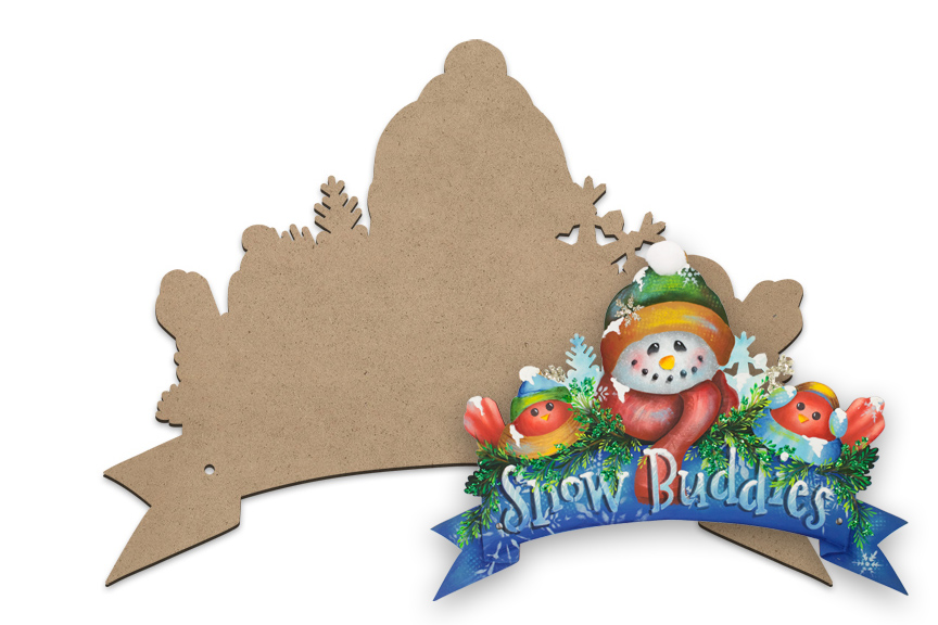 Snow Buddies Wreath Banner Surface