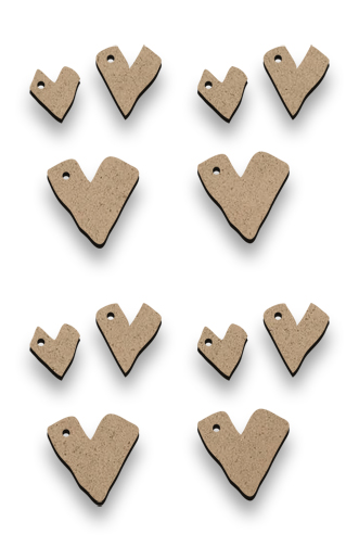 Tiny Primitive Hearts - Set of 12