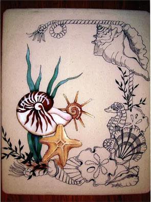 Shells In Paint N Pen E-Packet - Beth Wagner