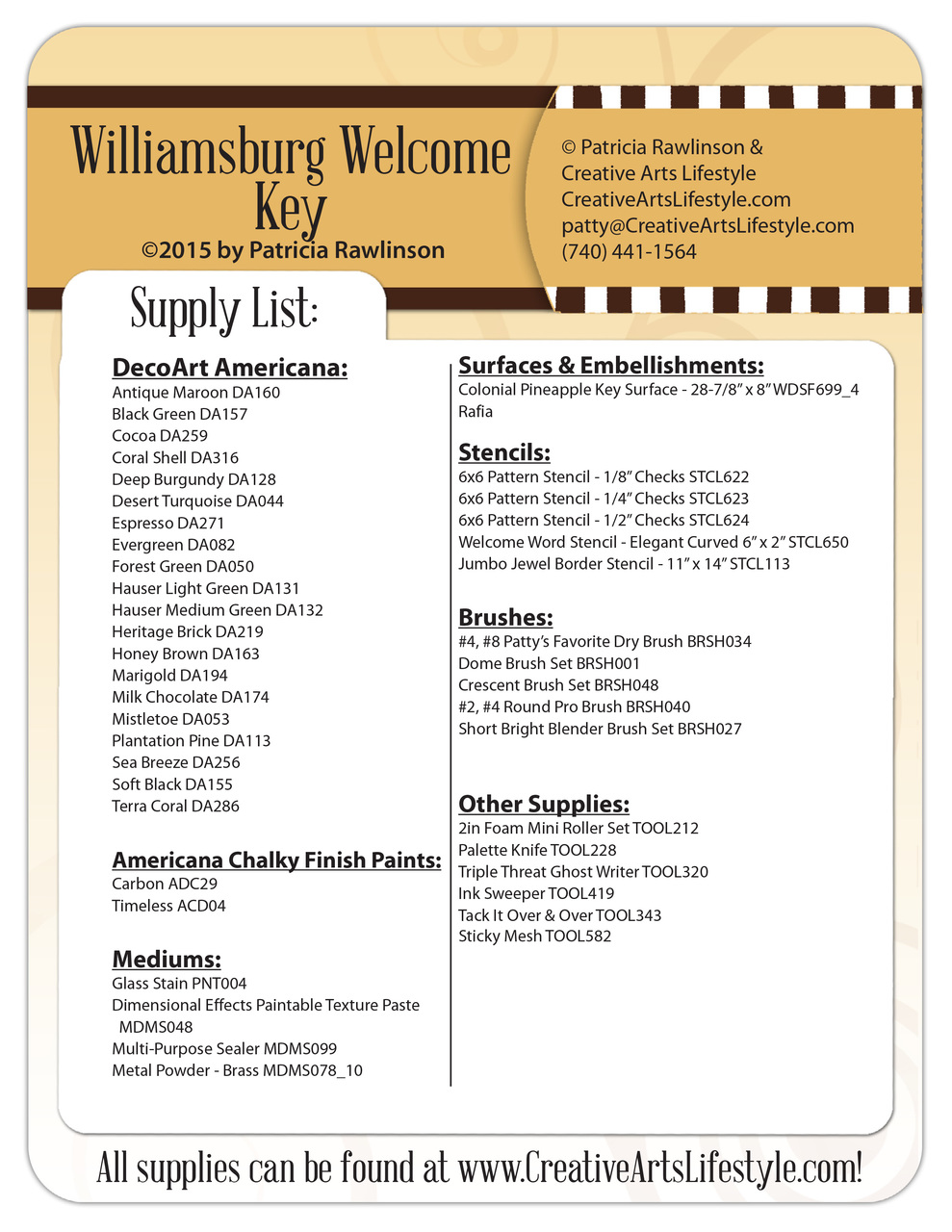 Williamsburg Welcome Key Pattern Packet - Patricia Rawlinson