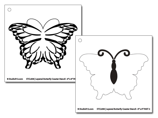 "Butterfly Coaster Art Stencil - 6""x6"""