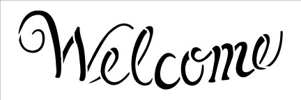 Welcome - Word Stencil - Elegant Curved - 6x2