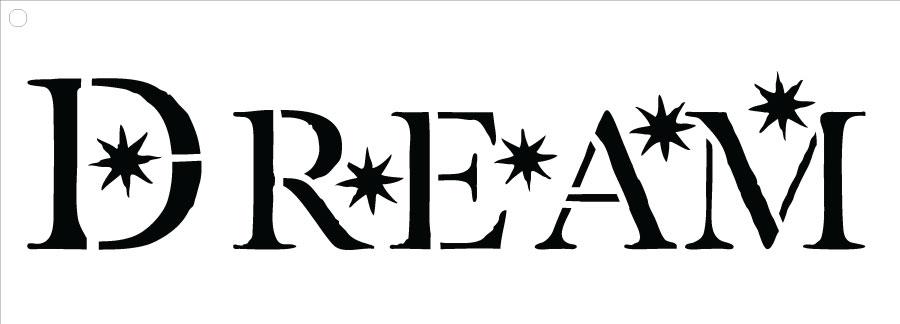 "Dream - Word Stencil - Starry - 7.5"" x 2.5"""