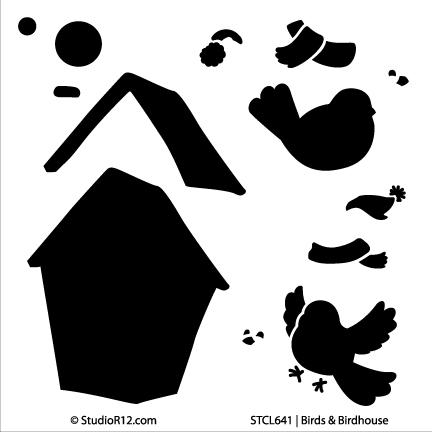 "Bird and Birdhouse  - Art Stencil - 6"" x 6"""
