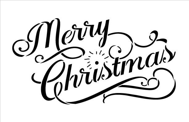 "Merry Christmas - Word Stencil - Elegant Vintage - 8.5"" x 5.5"""