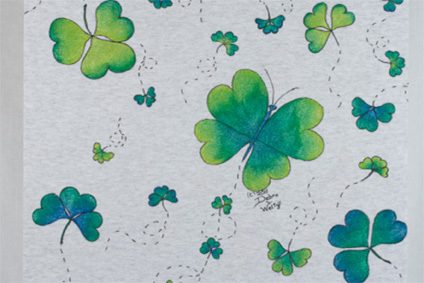 Fluttering Shamrocks Fabric Painting - E-Packet - Debra Welty