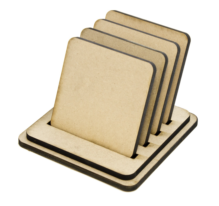 Simple Square Coasters - Set of 4 with Base
